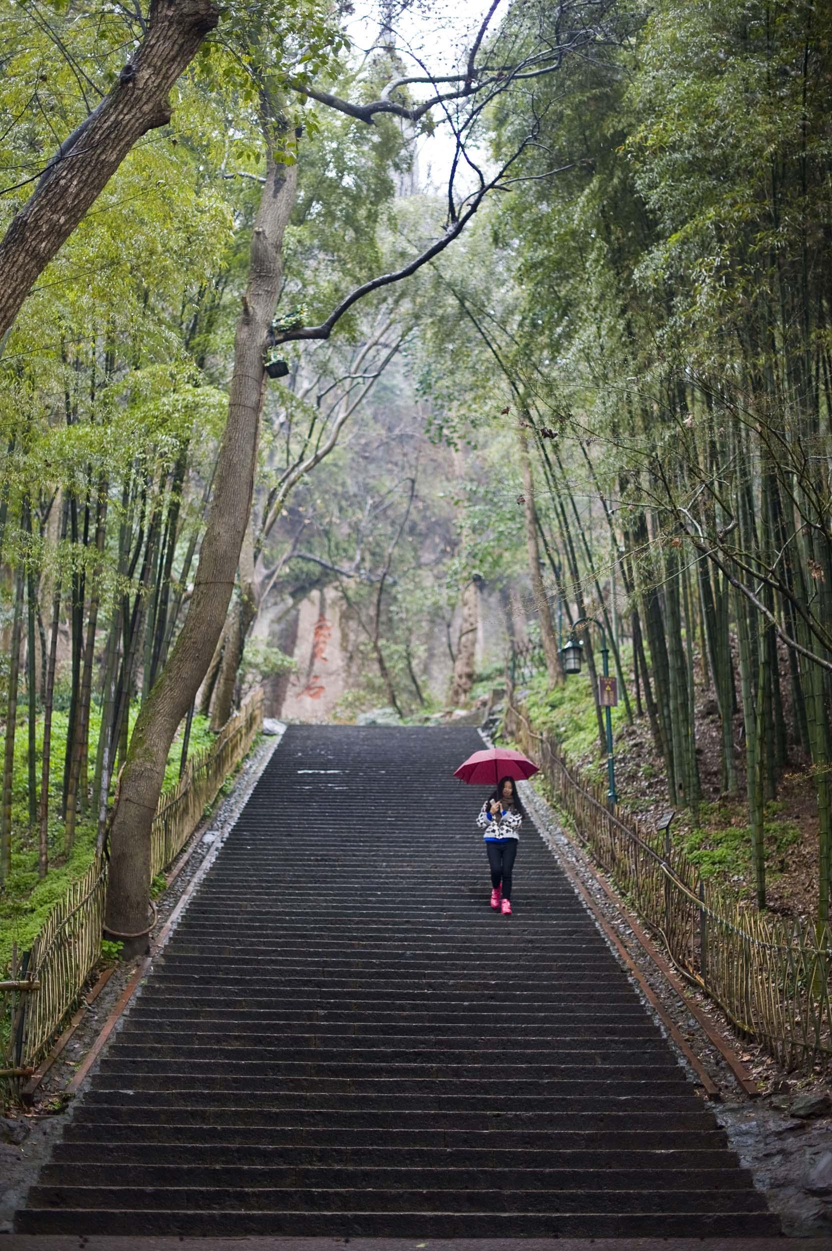 Una ragazza cammina in un parco della città. A girl walking in a garden close to the West Lake